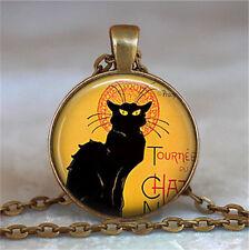 Vintage Black Cat Cabochon Bronze Glass Chain Pendant Necklace yy16