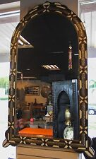 "Moroccan Arch Wall Mirror Decorated Inlaid Camel Bone wood Carved Metal 57""x 36"""