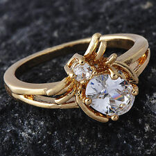 Womens Clear Crystal Spider Ring Yellow Gold Filled Ring size 5 Free Shipping