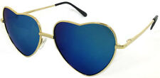 Light Gold Metal Frame Lolita Heart Shaped Full Mirror Women Sunglasses- Blue