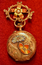 LADIES EDWARDIAN PENDANT WATCH 18K GOLD ENGRAVED WITH ENAMEL INLAY W/14K BROOCH