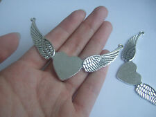10 Large Antique Silver Angel Wings & Heart Connectors Pendants Jewelry Findings
