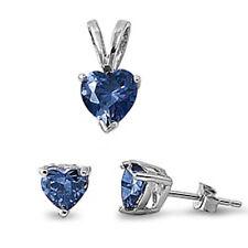 Blue Sapphire Heart .925 Sterling Silver Earrings & Pendant Set