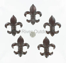 "5 pc Set 3"" Small Metal Fleur De Lis Wall Plaques / Ornaments - Saints Decor"