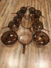 Corning Visions Cookware Set 23 Piece Amber Stockpots Saucepans Skillets