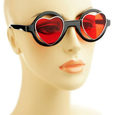 Love Steampunk Hippie Retro Style Heart Shaped Red Lens Round Sunglasses Black