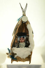 Blue Bird Signed Porcelain Indian Doll by Linda Lee Sutton with Teepee