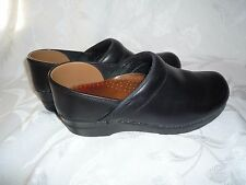 DANSKO  Black Leather Slip On Mule Clog Comfort Womens Professional 38 Denmark