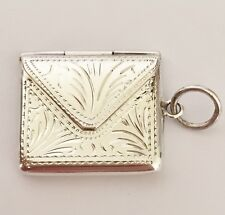 Vintage 925 Solid Silver - Stamp Holder Case Envelope Fob - Floral Pattern