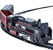 Train Set Lights Sound Locomotive 2 Rail Cars Tracks Battery Operated 13pc New