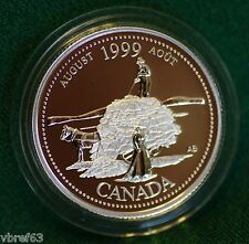 1999 CANADA Millennium Sterling Silver Quarter for August in proof finish
