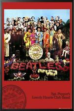 The Beatles Sgt Pepper Album Cover Poster in Black Wood Frame 24x36
