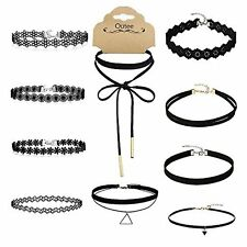 Outee 10 Pieces Black Velvet Chokers Necklaces, Lace and Black Triangle Choke...