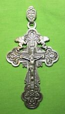 SILVER CROSS UKRAINE VINTAGE ORTHODOX JEWELRY CRUCIFIX  SUSPENSION #66