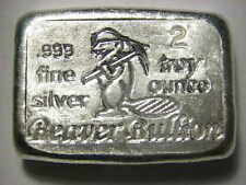 Beaver Bullion hand poured Canadian 2 troy ounce 999 fine silver bar