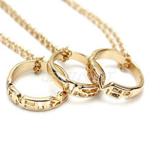 """3pcs Engraved """"Best Friends Forever"""" Pendant Friendship Ring Charm Necklace Gold"""