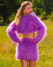 Purple hand knitted fuzzy mohair sweater and skirt sexy fluffy cropped set SALE