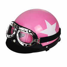 Pink Women Lady's Motorcycle Bike Half Open Face Helmet Visor Goggles Size L