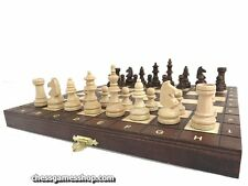 Foldable Wooden Magnetic Chess Set - Insert tray, felted, magnetic pieces