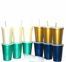 12 Large Pearlized Plastic Drinking Glasses Lids Straws 3 each Color Mfg USA