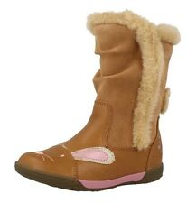 CLARKS Brown Tan Nibbles Fluff Boots Leather Suede Rabbit Bunny 5f
