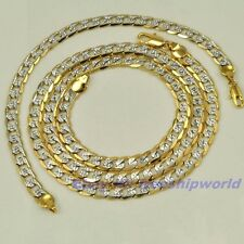 "23.6""6mm26g NECKLACE 8.2""6mm11g BRACELET REAL 18K YELLOW WHITE GOLD GP CHAIN SET"