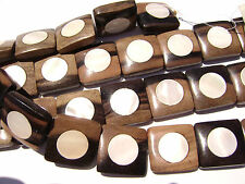 DJ-11 Ebony Wood Inlaid Makabibi MOP Shell Bead Component  Square Handmade Large
