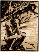 Striking Emile Bracquemond Linocut Engraving, Limited Edition, Paris, 1946