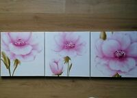 * NEW SET 3 MODERN FLOWER FLORAL CANVAS WALL ART pictures white pink home gift.
