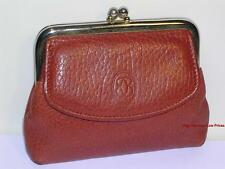 Vtg BUXTON KissLock Frame Coin Purse REAL Genuine Leather Light Brown Gold Metal
