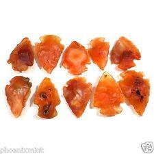 Lot of 10 CARNELIAN Arrowheads Hand Crafted Amber Red Orange Auburn Agates