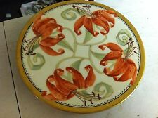 Antique Arts & Crafts Hand Painted Plate Tiger lily Limoges ? Pickard ? Signed