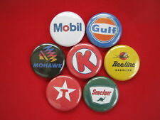 Gas Emblem pinbacks New Circle K Mohawk Beeline Sinclair Gulf Mobil Tx set of 7