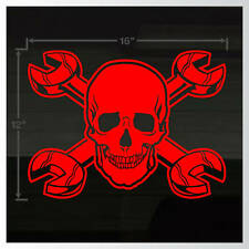 "Skull Cross Wrench Mechanic Racing Toolbox LARGE 16""x12"" RED Decal Sticker"