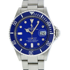 Mens Rolex Submariner 16610 Oyster Perpetual S/Steel Blue Diamond Ceramic Watch