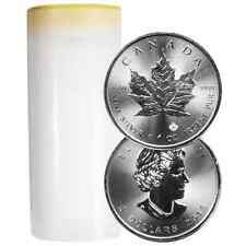 Lot of 25 - 2016 $5 Silver Canadian Maple Leaf 1 oz BU Full Roll