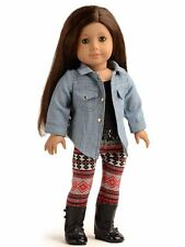 Sweet Dolly 3PC Doll Clothes Denim Jacket Tank Top Leggings Outfits For 18 inch