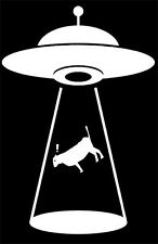 """Alien Cattle Abduction"" Decal Sticker,Alien,Sci Fi,UFO,Space,Contact"