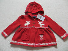 BNWT Girls Ralph Lauren Knitted Red Reindeer Hooded Cardigan Age 18 mnths