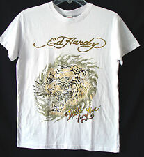 ED HARDY Big Boys' S/S Tiger Head Cotton Crew Tee-White/Gold-LARGE (12)-NWT-$38