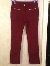 M&Co Women Jeans Burgundy Red Denim Skinny Casual Golden Zipper Size 12 (04)