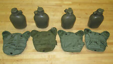 (4) US MILITARY 1 QT CANTEENS, OLIVE GREEN VARIETY COVERS ~USED~