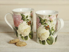 Set of 2 ROSE GARDEN Fine Bone China MUGS In Gift Boxes