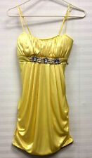 Juniors Ruby Rox  Satin Yellow Bubble Short Dress w/ Bling Size Small