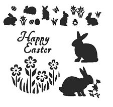 STENCILS CRAFTS TEMPLATES SCRAPBOOKING EASTER STENCIL RABBIT HAPPY EASTER FLOWER