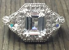 Ornate Sterling Silver 925 Emerald Cut CZ Halo Engagement - Cocktail Ring Size 7