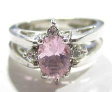GORGEOUS STERLING SILVER REVERSIBLE FLIP RING*PINK & CLEAR STONES*925*SIZE6*D301
