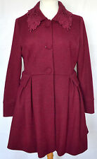 Darling Claret Red Lace Collar Formal Wool Mix Long Coat - L 12 / 14