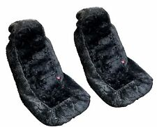 2x Black Authentic Sheep Skin Front Seat Covers - Genuine Plush Sheepskin HS7