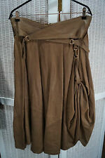 Vintage Steampunk Faux Leather Skirt Assymetric Punk Rock Goth Indie Quirky L 42